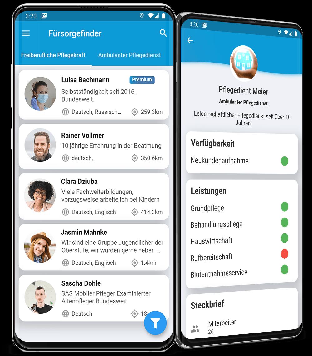 PriorApps Kundenprojekt Fürsorgefinder